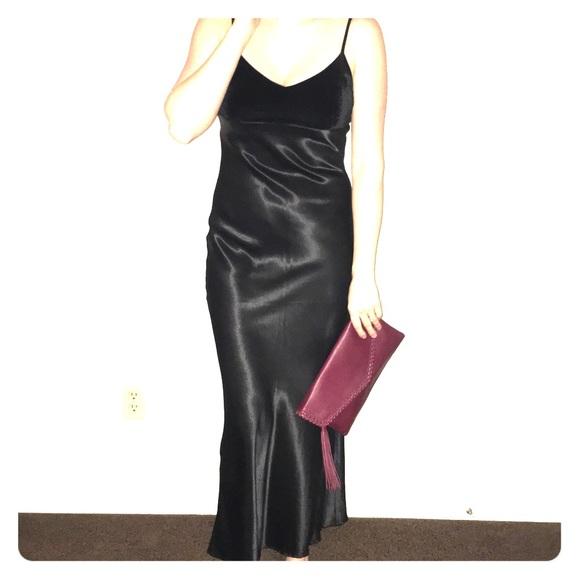Vintage Dresses | Velvet Satin Slip Dress 90s Formal Gown | Poshmark